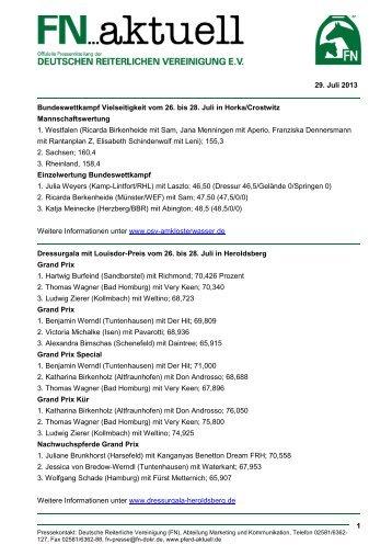 fn aktuell - Ergebnisdienst vom 26. - 28. Juli 2013