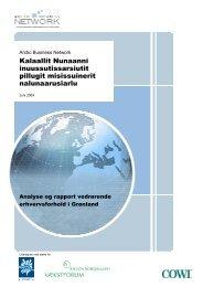 Analyse og rapport om erhvervsforhold i Grønland, juni 2009 ... - Cowi