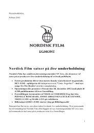 Nordisk Film satser på live underholdning - Forum