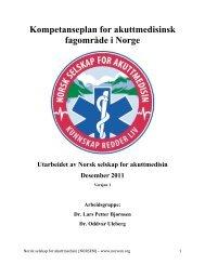 Kompetanseplan for akuttmedisinsk fagområde i Norge - NORSEM