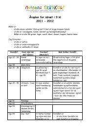 Årsplan for idræt i 9.kl 2011 - 2012 - Aalborg Friskole