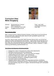 Curriculum Vitae Mette Daugbjerg