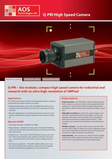 Q-PRI High Speed Camera - AOS Technologies AG