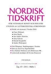 Nordisk Tidskrift 1/11 (PDF 404 KB) - Letterstedtska föreningen