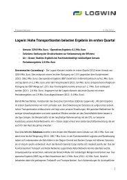 Logwin: Hohe Transportkosten belasten Ergebnis im ersten Quartal