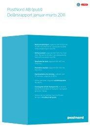 PostNord AB (publ) Delårsrapport januar-marts 2011
