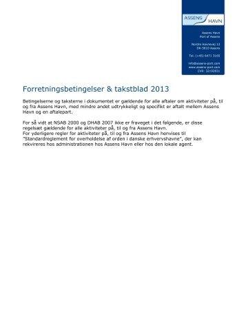 Forretningsbetingelser & takstblad 2013 - Assens Havn