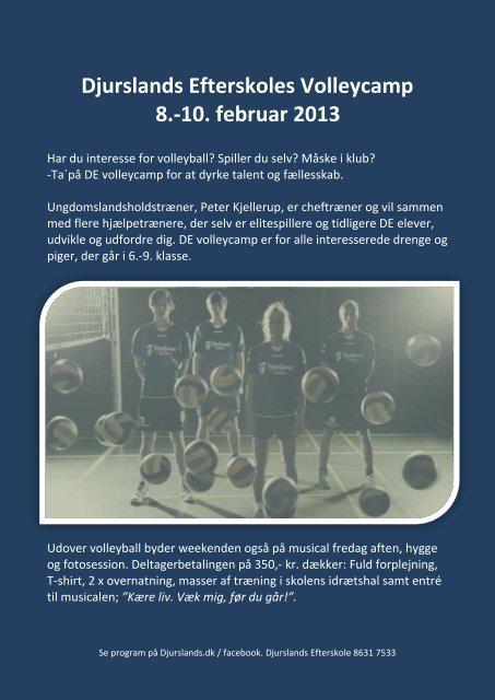 Djurslands Efterskoles Volleycamp 8.-10. februar 2013