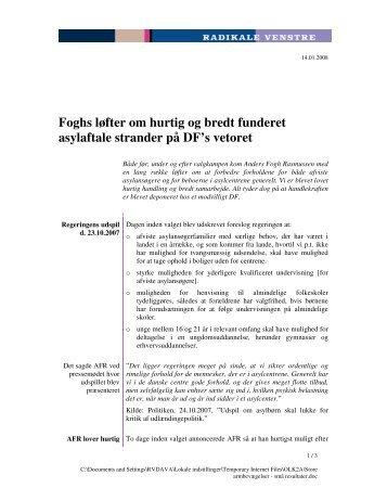 Foghs løfter om hurtig og bredt funderet ... - Radikale Venstre