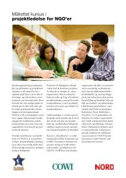 Målrettet kursus i projektledelse for NGO'er - Cowi