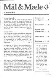 Sprogvidenskab, Sproghistorie Brevkasse om ... - Mål og Mæle