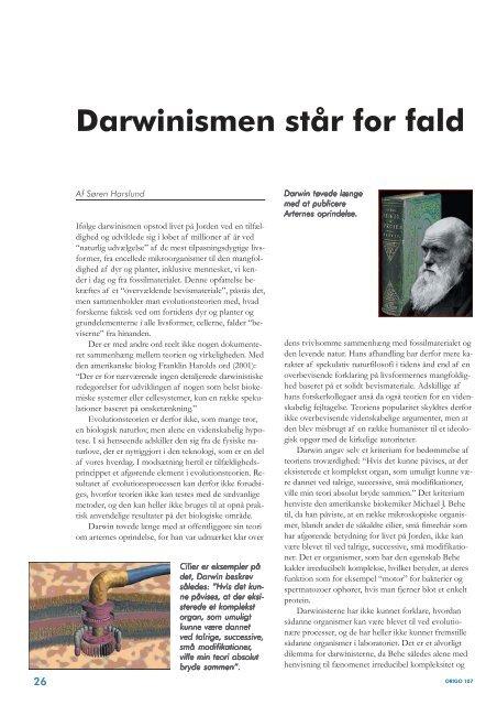 Darwinismen står for fald - Skabelse.dk