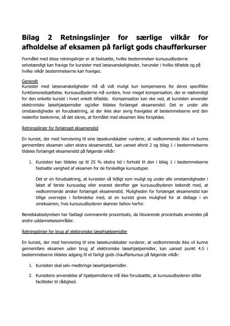 Bilag 2 Retningslinjer for særlige vilkår for afholdelse af eksamen på ...