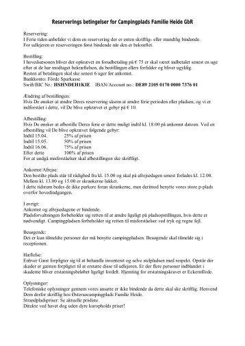 Reserverings betingelser for Campingplads Familie Heide GbR