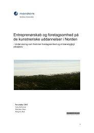 Entreprenørskab og foretagsomhed på de ... - Arts & Business