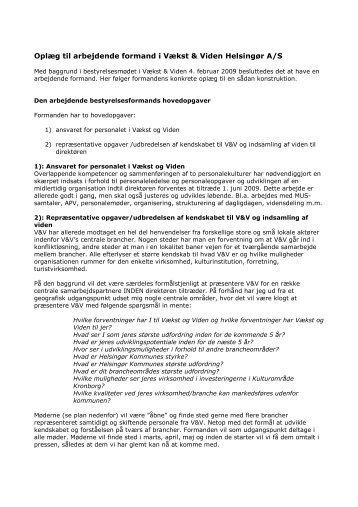 Bilag 9 - Oplæg arbejdende formand og konsulent - Vækst & Viden