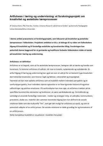 Artfulness i læring og undervisning: et forskningsprojekt om ...