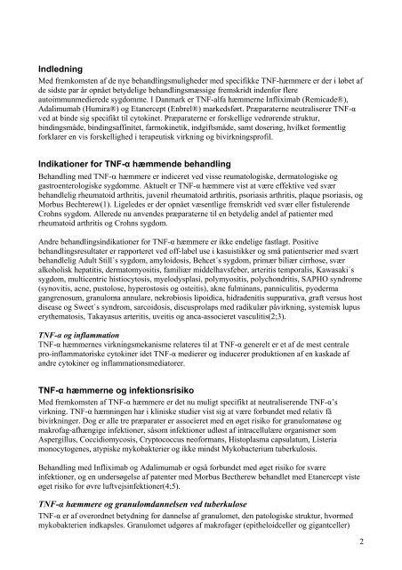 TNF-alfa hæmmere og tuberkulose - DDS