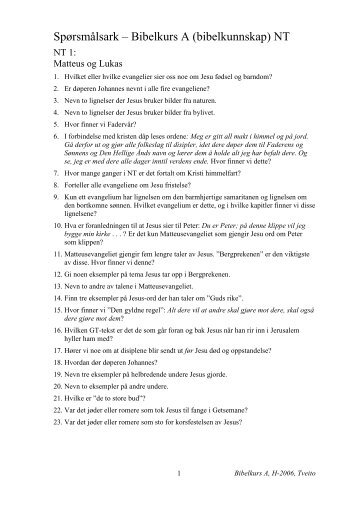 Spørsmålsark, Bibelkurs A - NT