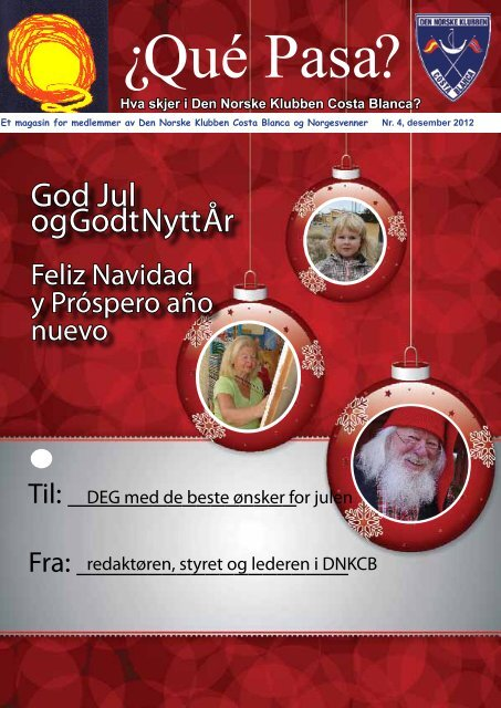 God Jul og Godt Nytt År - Den Norske Klubben Costa Blanca