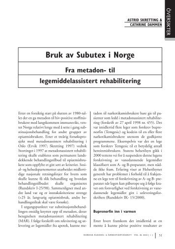 Bruk av Subutex i Norge Fra metadon