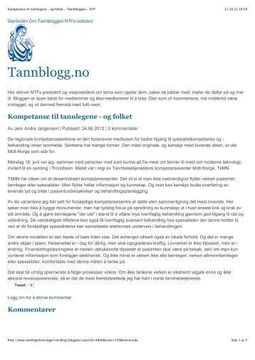 Kompetanse til tannlegene - og folket - Tannbloggen - NTF