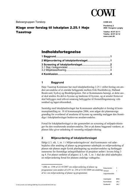 Rapport udarbejdet af COWI A/S, 4 sider. - Svend-Erik Hermansen