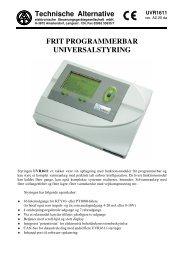 frit programmerbar universalstyring - Varmt vand fra solen