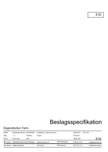 Beslagsliste - Arkitektfirmaet Henrik Nielsen