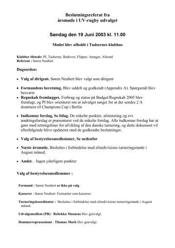 Referat fra årsmøde d. 19 Juni 2005 - Uv-Sport