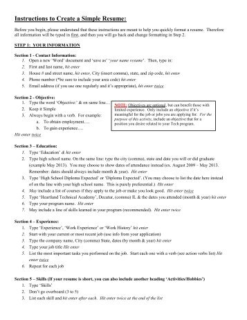 Instructions for 'Simple' Resume Formatting: - Heartland Technical ...