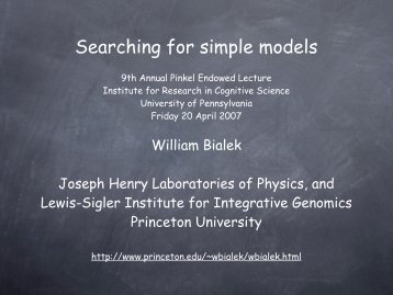 Searching for simple models - Institute for Research in Cognitive ...