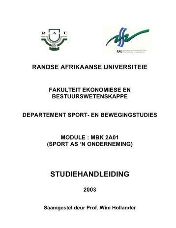 (sport as 'n onderneming) studiehandleiding 2003