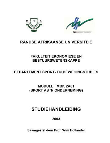 (sport as 'n onderneming) studiehandleiding 2003