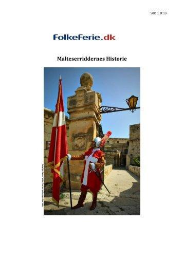 Malteserriddernes Historie - FolkeFerie.dk