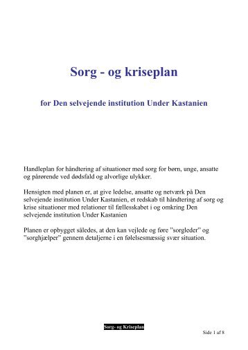 Sorg - og kriseplan - Den selvejende institution Under Kastanien