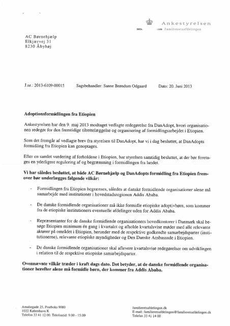 Afgørelse til AC Børnehjælp - Ankestyrelsen