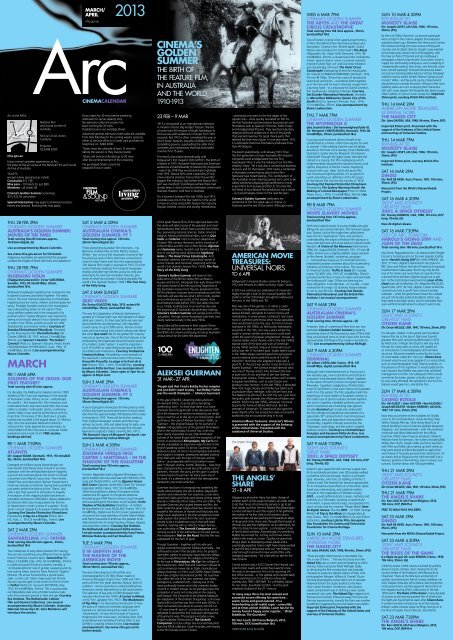Arc Calendar March April National Film And Sound Archive