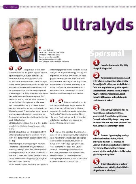 Helsegevinst ved tidlig ultralyd? - Menneskeverd