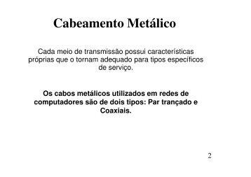 Cabeamento Metálico - CCHLA/UFRN