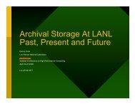 Archival Storage At LANL Past, Present and Future - Los Alamos ...