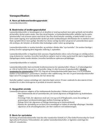 Varespecifikation for lammefjordskartofler (revideret 18.12.1212)