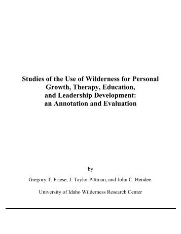 Studies of the Use of Wilderness for Personal Growth, Therapy ...