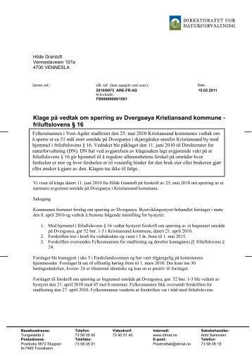 friluftslovens § 16 - Kristiansand kommune