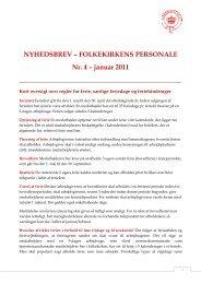NYHEDSBREV – FOLKEKIRKENS PERSONALE Nr. 4 – januar 2011