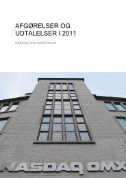 AFGØRELSER OG UDTALELSER I 2011 - Nasdaq OMX