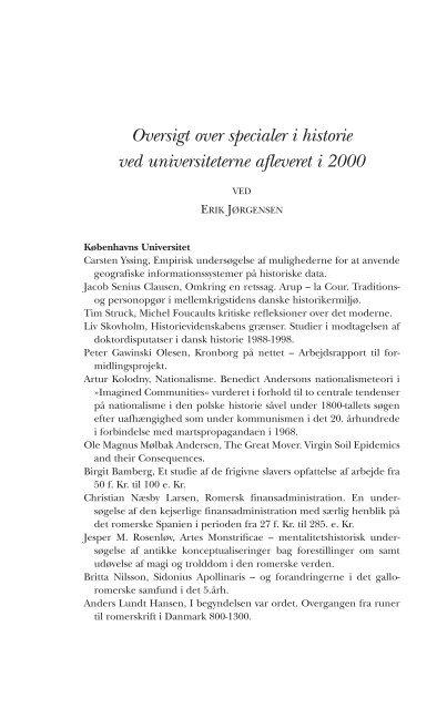 Oversigt over specialer i historie ved ... - Historisk Tidsskrift