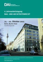 6. Jahresarbeitstagung BAU- UND ... - Deutsches Anwaltsinstitut ev