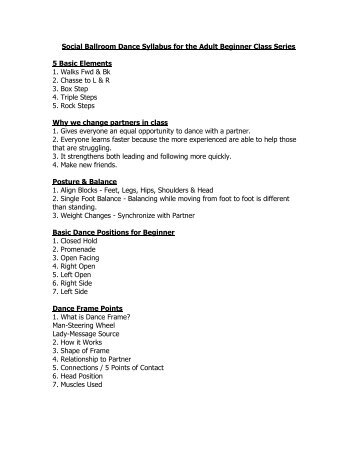 Social Ballroom Dance Syllabus for the Adult Beginner Class Series ...