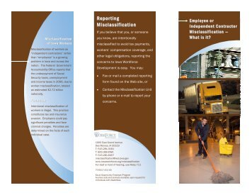Misclassification Brochure - Iowa Workforce Development